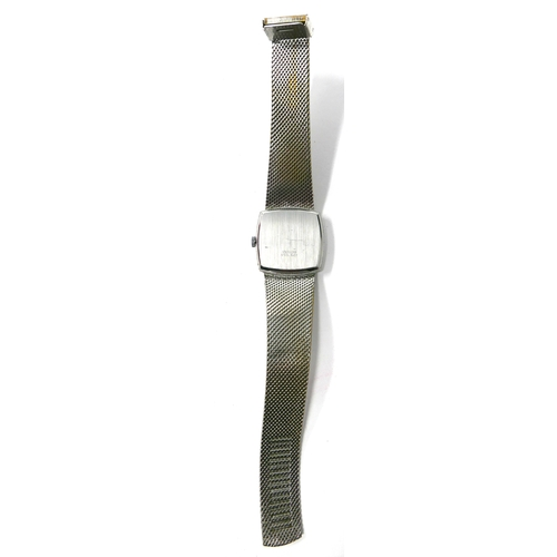 79 - A Gentleman's Josmar stainless steel watch, with a square shaped, silvered dial and bar numerals, di...