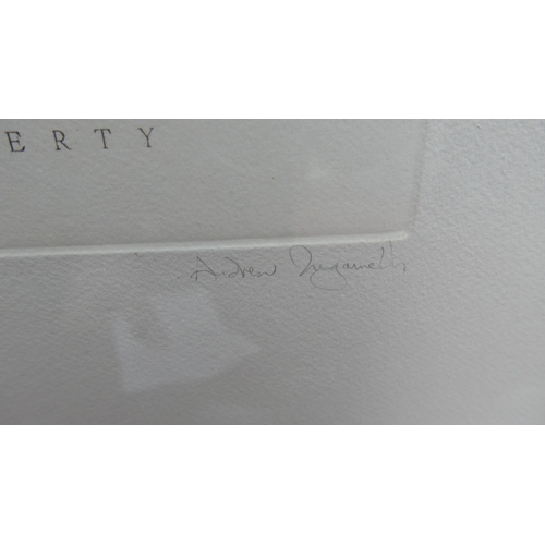 397 - Andrew Ingamells, limited edition engraving of the statue of liberty, signed and numbered 35/175 in ...