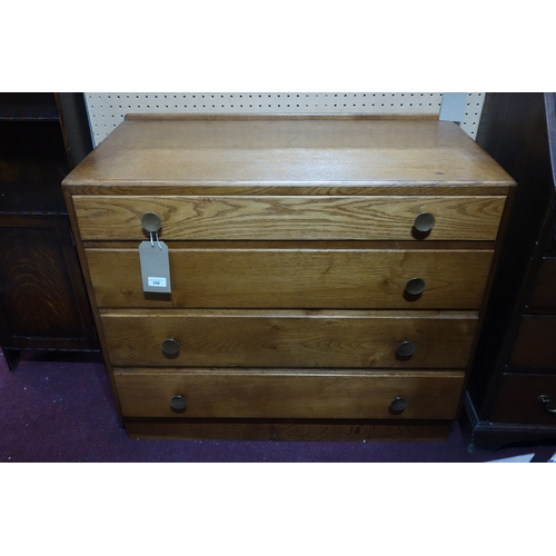 359 - A light oak chest of four drawers, raised on plinth base, H.76 W.92 D.46cm...