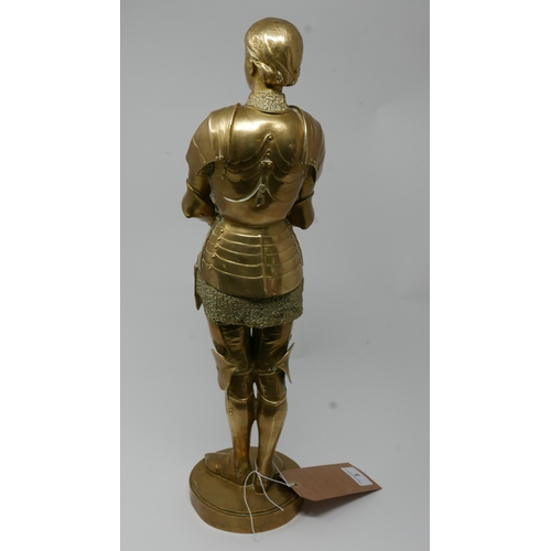 3 - Louis Ernest Barrias (French, 1841-1905), a gilded bronze figure of Joan of Arc in chains, signed in...