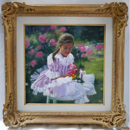 39 - A Lillian Silva Le Fur painting of a young girl in a rose garden...
