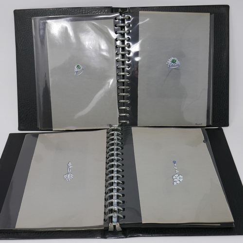 105 - Two folios containing 70 hand-drawn and hand-painted jewellery designs each on tracing paper sheets ...