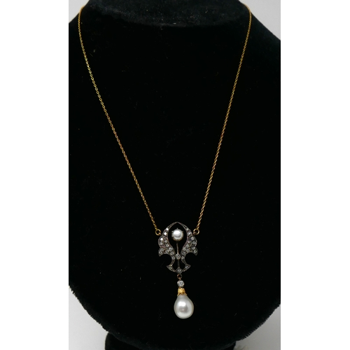 345 - A boxed yellow gold drop necklace studded with diamonds and set with two white pearls, L: 50cm, 4.3g...