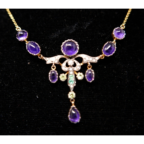 325 - A boxed yellow gold drop necklace set with amethyst cabochons, seed pearls, emerald and peridot, L: ...