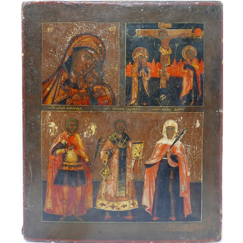81 - A Russian icon in three registers depicting the Mother of God of Korsun, the Crucifiction of Christ ...