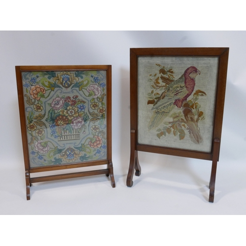 123 - Two early 20th century embroidered firescreens, decorated with a parrot, H.78 W.50cm; and a stylised...