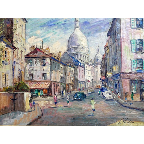 76 - 20th century French school, a Paris street scene, oil on canvas, signed 'Chatou' to lower right, 50 ...