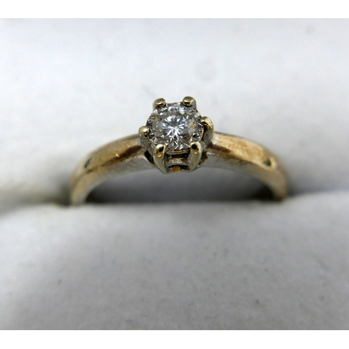 12 - A 9ct white gold and diamond solitaire ring, 0.33carats, 2.5grams...