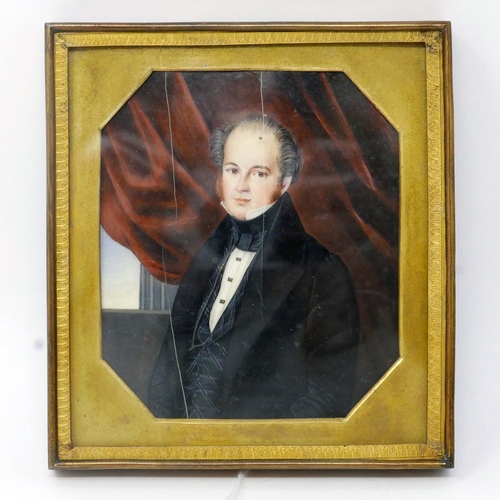 14 - Attributed to Pierre-Jean-Richard Lachaisnes (French, b.1789), a miniature portrait on ivory of a ge...