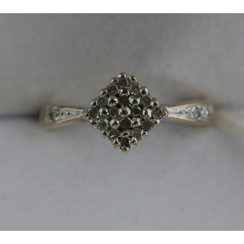 18 - A 9ct yellow gold and diamond ring, with diamond set shoulders, 0.25 carat, 1.8 grams...