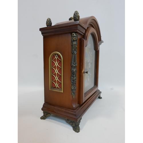 409 - A 20th century West German mantel clock by Emil Schmeckenbecher, triple train movement, five chimes,...