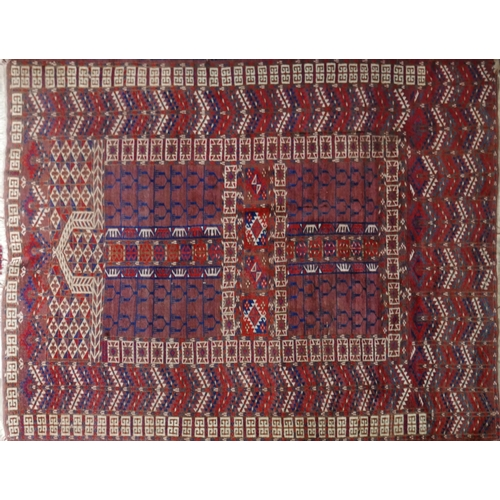 78 - A 20th century Hatchli rug, with geometric designs, on a red and blue ground, 175 x 133cm...
