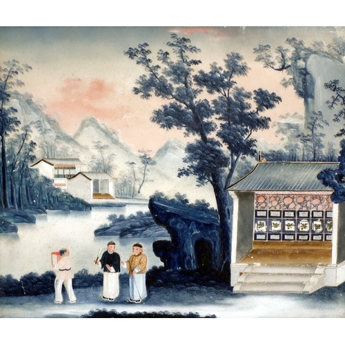 30 - An 18th century Chinese reverse glass painting of figures in a courtyard scene, set in a Venetian st...