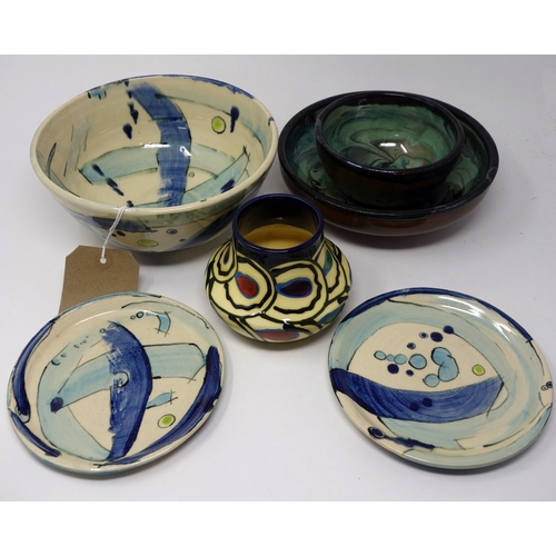 317 - Six studio pottery bowls/dishes, some signed...