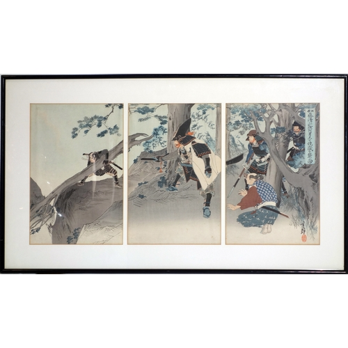 34 - A 19th century Japanese woodblock triptych of warriors by tree, with artist marks, 34 x 71cm...