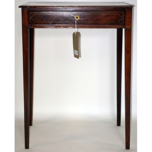 351 - A Regency boxwood inlaid mahogany side table, with single drawer, raised on tapered legs, H.70 W.51 ...