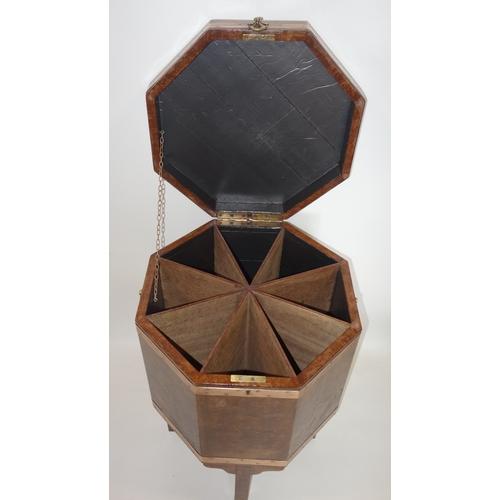 353 - A Georgian style solid burr walnut cellarette, H.71 W.46 D.46cm...