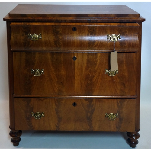 367 - A 19th century continental walnut chest of three drawers, raised on turned feet, H.90 W.95 D.49cm...