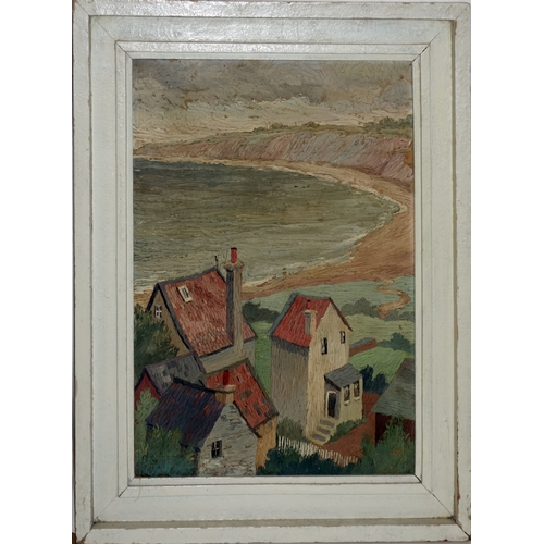 54 - An early 20th century impressionist coastal scene, oil on canvas, unsigned, 55 x 40cm...
