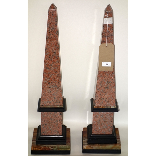 56 - A pair of marble and onyx obelisks, one repaired, H.66cm...