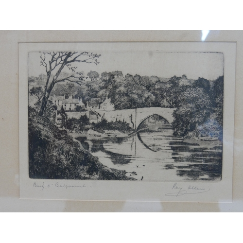101 - Ray Allen, View of a Bridge by a Village, etching, signed in pencil to lower margin, framed and glaz...