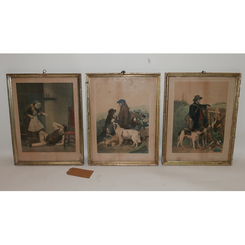 104 - Three coloured prints of German engravings, two depicting hunters and their dogs, and one of a woman...