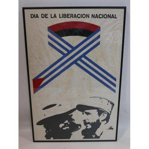 65 - A Cuban silkscreen political poster, reprint, 'Dia de la Liberacion Nacional', framed, 74 x 48cm...