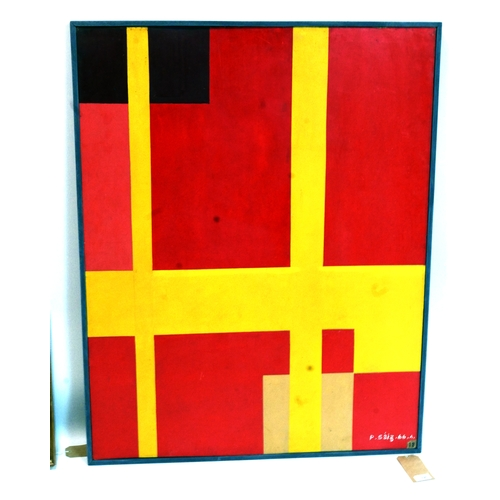 138 - P. Saiz, a 1960's geometric abstract, oil on board, signed 'P. Saiz' and dated 1966 to lower right, ...