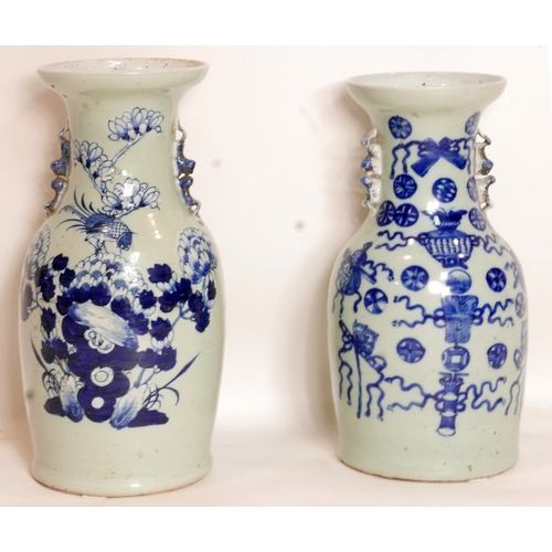 143 - A Chinese blue and white vase, decorated with birds and blossoming flowers, H.44cm, together with a ...