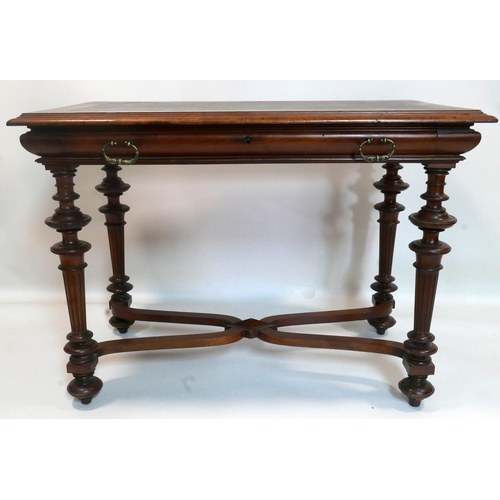 149 - A 19th century continental mahogany side table, single drawers, raised on turned reeded legs, joined...