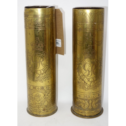 119 - Two WWI trench art artillery vases, one inscribed 1917 Belgium the other 1919 Italy, H.27cm...