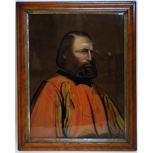 329 - A 19th century reverse glass portrait painting, in maple frame, 53 x 41cm...