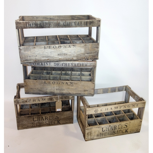 340 - Four wine crates, each holding 15 bottles, H.36 W.57 D.33cm (4)...