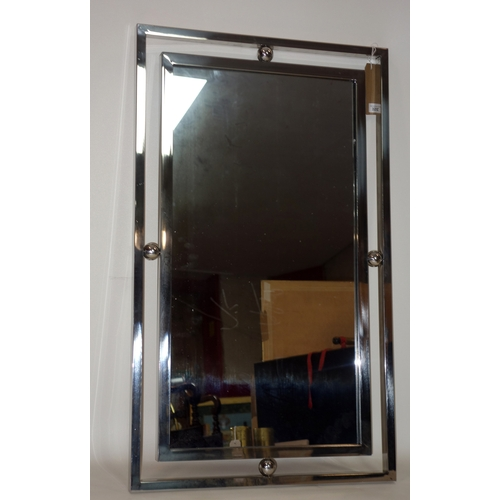 352 - A contemporary chrome wall mirror, 100 x 60cm...