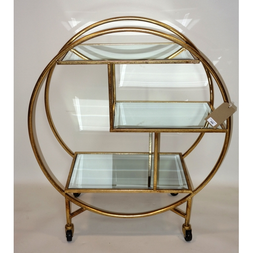 368 - A contemporary Art Deco style drinks trolley, the three tiers with bevelled glass tops, on castors, ...