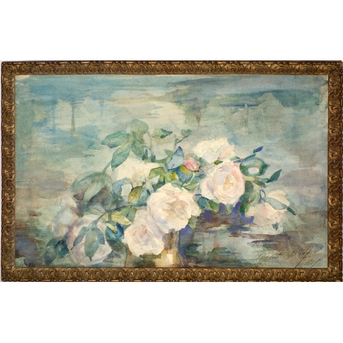 376 - A French still life of roses, watercolour, signed Marguerite Gilelal (?) and dated 1901 to lower rig...