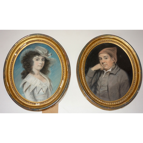 379 - A pair of 19th century pastel portraits, set in oval gilt wood frames, 23 x 19cm...