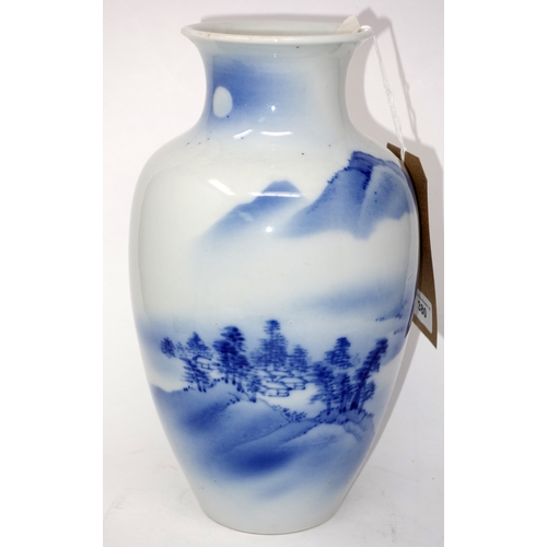 380 - A Chinese blue and white high shouldered vase, decorated with mountainous landscape, H.30cm...