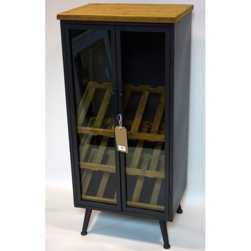 388 - A Industrial style wine cabinet, with three wine racks (15 bottles total), H.108 W.38 D.50cm...