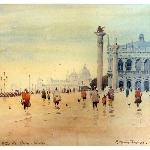 389 - R Martin Tomlinson, b.1945, 'after the storm-Venice', watercolour, signed, 15 x 15cm...