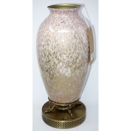 393 - An early 20th century glass vase on gilt metal stand, H.42cm...
