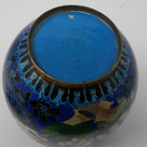 265 - A Chinese cloisonne enamel ovoid vase (no cover), decorated with flowers and butterflies, H.18cm...