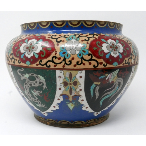 273 - A Chinese cloisonne enamelled ovoid vase, decorated with flowers, and vignettes of dragons and phoen...