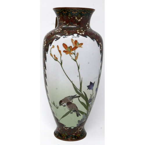 295 - A Chinese cloisonne enamel vase, decorated with vignettes of a flying duck and birds amongst flowers...