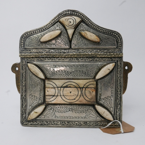336 - A Middle Eastern brass, white metal and bone inlaid saddle pouch, with lid (detached), with scrollin...