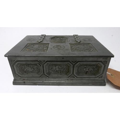40 - Pewter casket containging vintage, costume jewellery: diamante bracelet, enamel clip earrings, oval ...