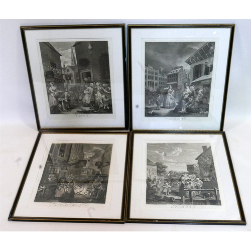 5 - A set of four original 19th century Hogarth engravings, the four times of day, morning, noon, evenin...