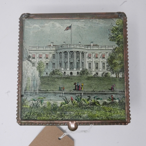57 - A Decoupage Box featuring the White House and Old DC Map with President George W. Bush and Laura Bus...