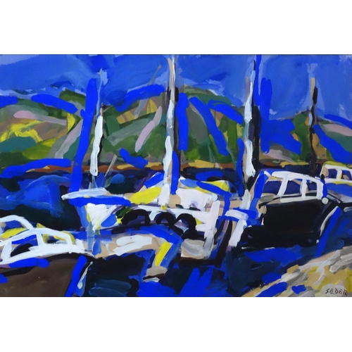 19 - Đuro Seder (Croatian, b.1927), Sailing boats in a harbour, gouache, signed lower right, framed and g...