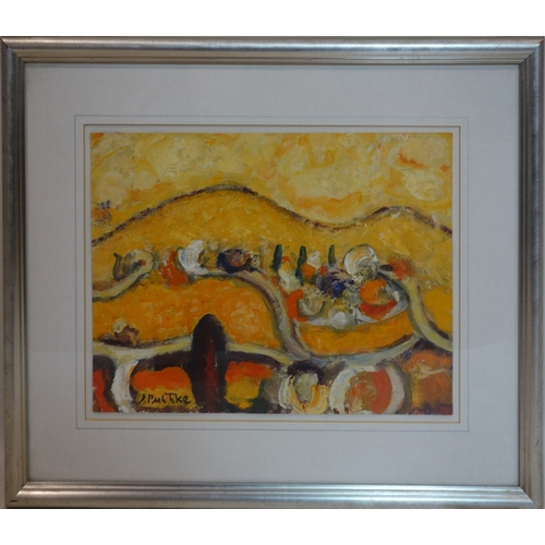 25 - Duro Pulitika (Croatian, 1922-2006), Yellow landscape, oil on paper, signed lower left, 26 x 36cm...